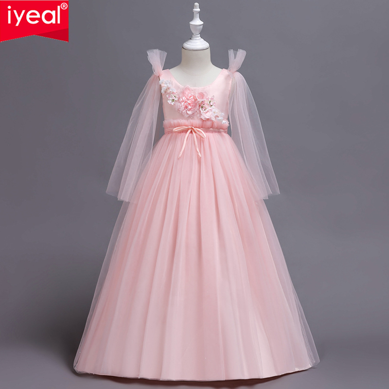 IYEAL Kids Girls Long Flower Party Ball Gown Prom Dresses Child Girl Princess Wedding Children First Communion Dress for 5-14Y girl flower dress kids party wear sleeveless clothing girl wedding dresses ball prom first communion dresses for girls