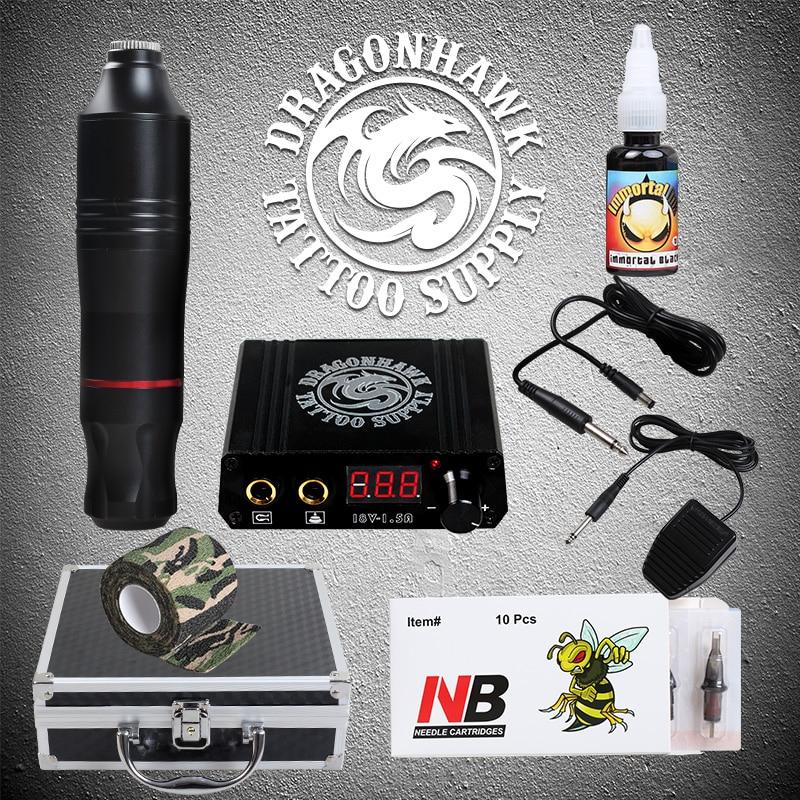 цена на Professional Rotary Tattoo Pen Machine Set Tattoo Power Kit With Carrier Box Supplies