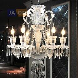 Led e14 Baccarat żelaza szkło kryształowe tkaniny jasne żyrandol oświetlenie Lamparas De Techo zawieszenie oprawa Lampen dla Foyer