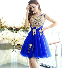 Evening Dress Embroidery Fashion Royal Blue Short Beaded Peacock Party Night Gown Latest robe de soiree Dresses