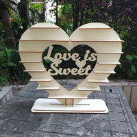 Ferrero Rocher Heart Stand Love is Sweet Chocolate Display Centrepiece Vintage Wood Table Wedding Party Decoration