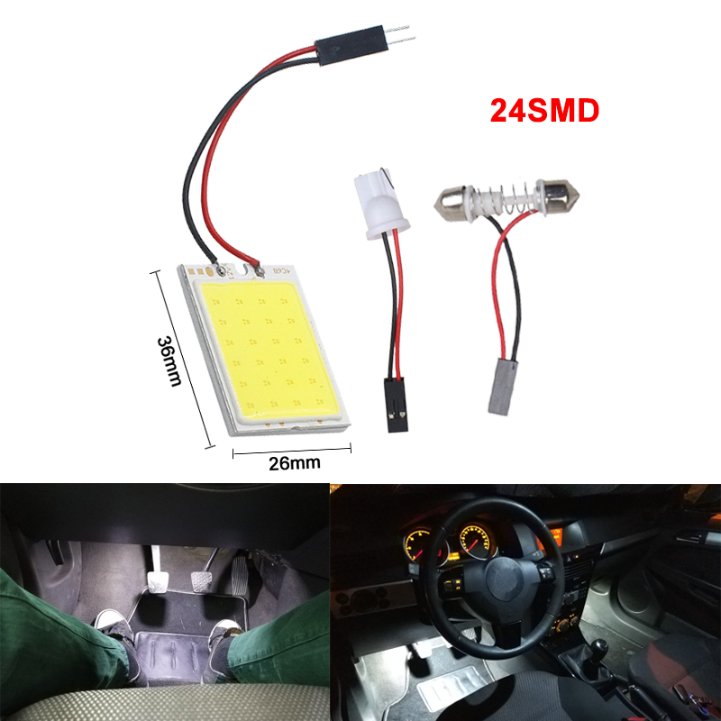Image 2 - 2x Car C5W LED COB Bulb Fstoon Interior Dome Reading Light T10 W5W Auto Luggage Trunk License Plate Lamp Super Bright Whit 12V-in Signal Lamp from Automobiles & Motorcycles