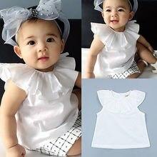 Одна деталь футболка для новорожденных и маленьких девочек, футболка с Летняя одежда для малышей; Модная белая одежда