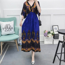 Bohemian Women maxi dress summer plus size  floral print dress  Ladies V Neck Short Sleeve long maxi Dress loose все цены