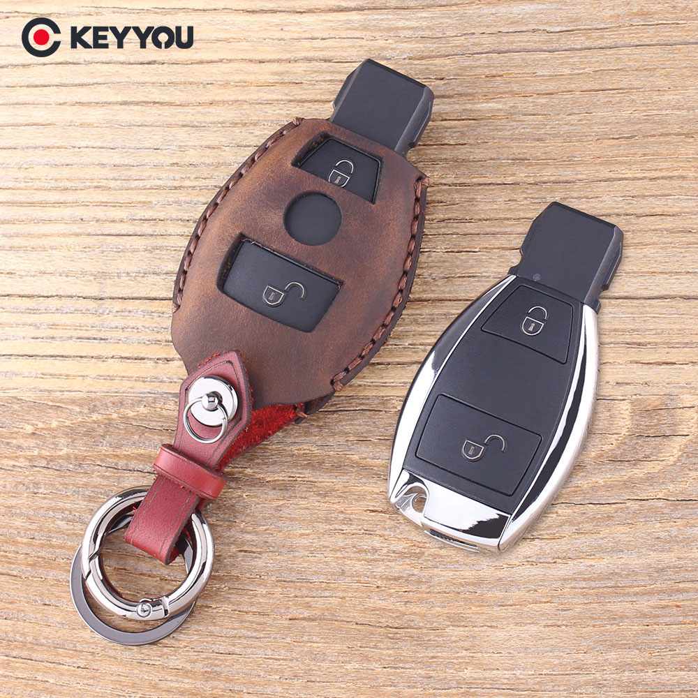 KEYYOU Leather Car Key Shell For Mercedes For Benz CLK/C/E/S Class Car Key Case Remote Car Key Shell Case Fob Cover