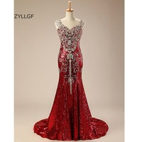 ZYLLGF Luxurious Dresses For Wedding Crystal Beaded Bridesmaid Gown In Wine Color Mermaid V Neck Sequins Long Formal Gown Q231