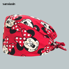 Dental clinic cap Medical surgical hat adjustable Breathable Hospital doctor nurse surgery scrub cap&mask men and women printing