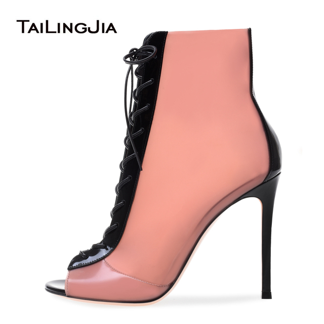 Peep toe Lace up High Heel Pink Latex Booties Blush PVC and Black Patent  Leather Ankle Boots Ladies Summer Shoes Women Stilettos 1ce5787a5