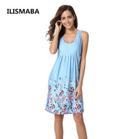 ILISMABA New Ladies Fashion Sexy Summer Sleeveless Vest Brand Dress High Quality Printed Knitted Women Personalized