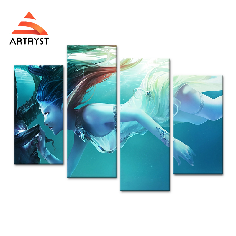 4 panel modular art wall game girl figure canvas painting poster HD print on the canvas modern home cuadros decor for kids room