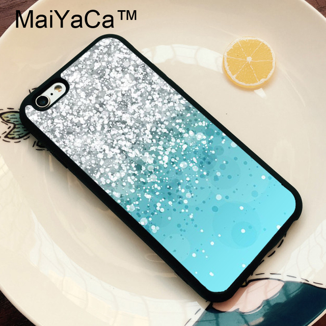 official photos 31dac ccc0f US $4.09 10% OFF|MaiYaCa Silver Falling Sparkles Light Blue Phone Case For  iphone 6 Case Soft Rubber Cover Fashion Cases For iphone 6S 6 Capa-in ...
