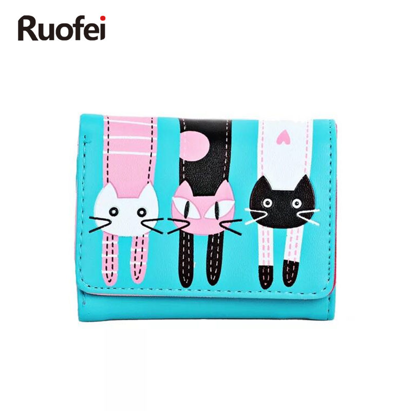 RUO FEI Ny 2019 Kvinners Cute Cat Cartoon Wallet Lange Kreative Kort Holder Casual Ladies Clutch Veske PU Leather Coin Purse