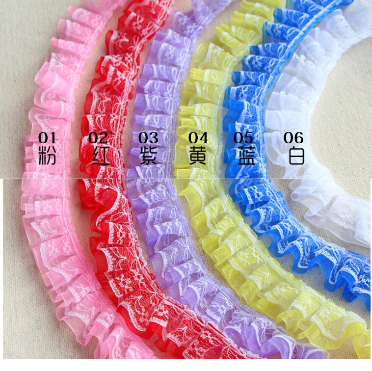 10meter /lot 2.5cm 1 wide pleated lace trims, multicolors lace decoration DIY accessary Free Shipping