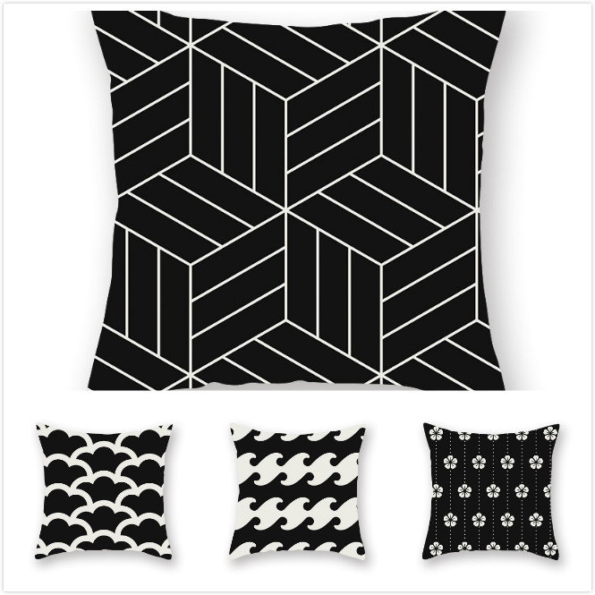 RULDGE 1PC Geometric Cushion Cover Polyester Pillow Case Black And White Home Decorative Pillows Cover For