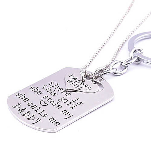 1 סט מתנת יום אב אבא בת ילדה גנב שלי לב שרשרת + Keychain