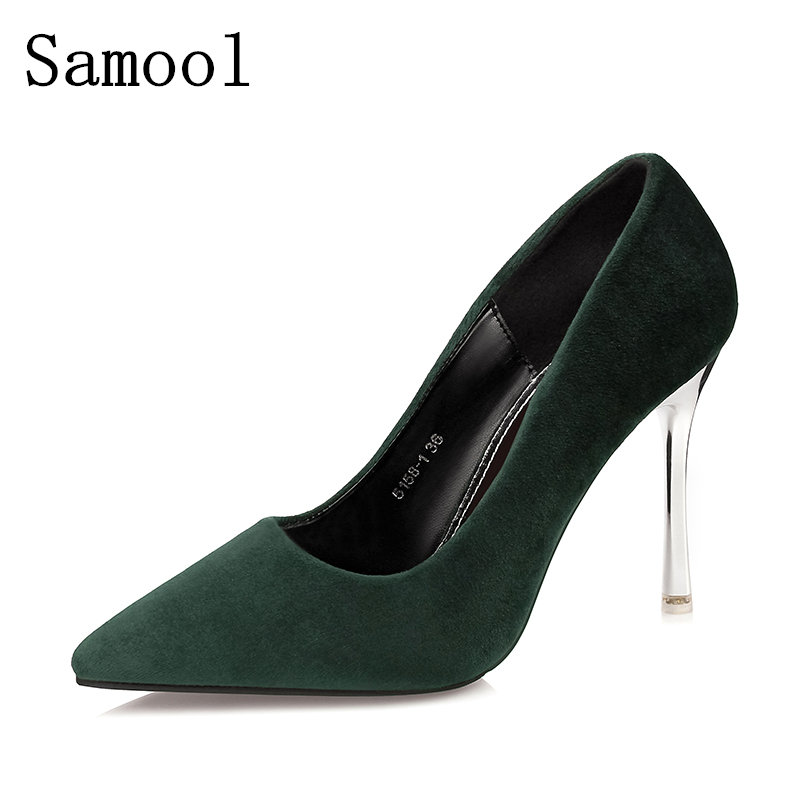 2017 Spring Autumn Cow Suede Super High Heels Shoes Sexy Party Wedding Thin Heel Pointed Toe Shoes For Classic Women Pumps spring autumn shoes woman pointed toe metal buckle shallow 11 plus size thick heels shoes sexy career super high heel shoes