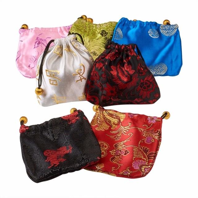 "Pandahall 100 יחידות משי שקיות, מלבן, מעורב צבע, 10.7x9.6 ס""מ חג המולד"