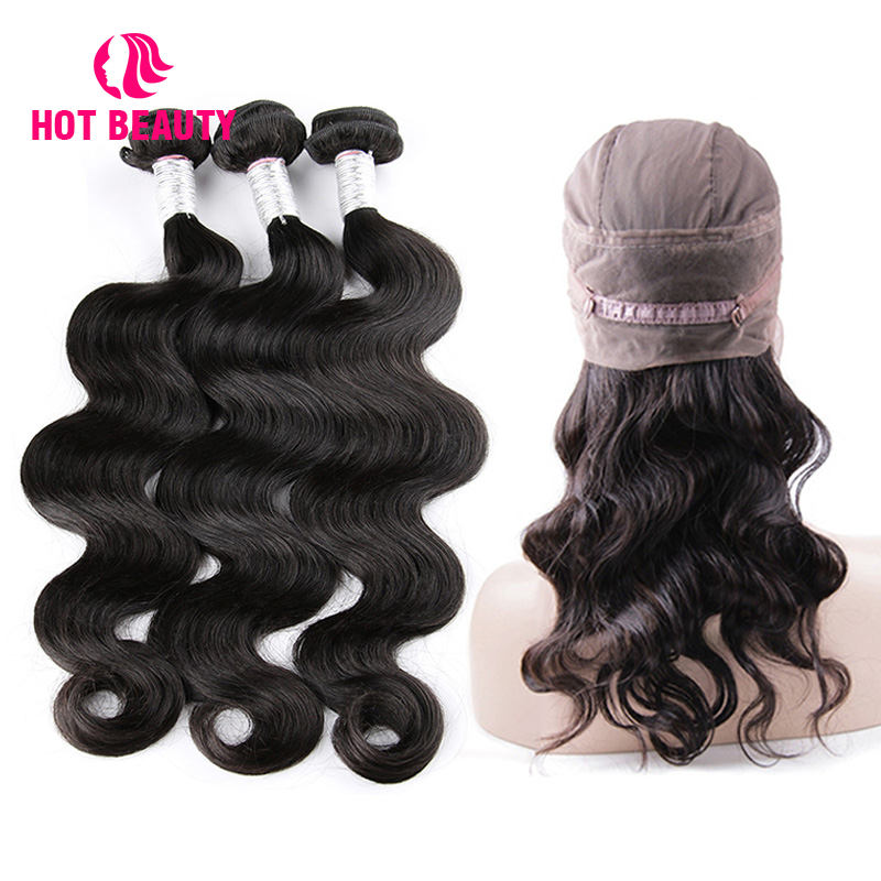 Hot Beauty Hair Human Hair 3 Bundles With Frontal Body Wave Brazilian Remy Hair Weave Bundles With 360 Lace Frontal With Bundle