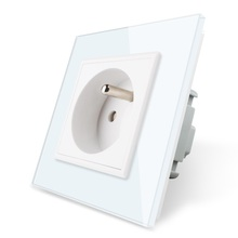 цена на Free Shipping,Livolo New Outlet,French Standard Wall Power Socket, VL-C7C1FR-11,White Crystal Glass Panel, AC 110~250V 16A