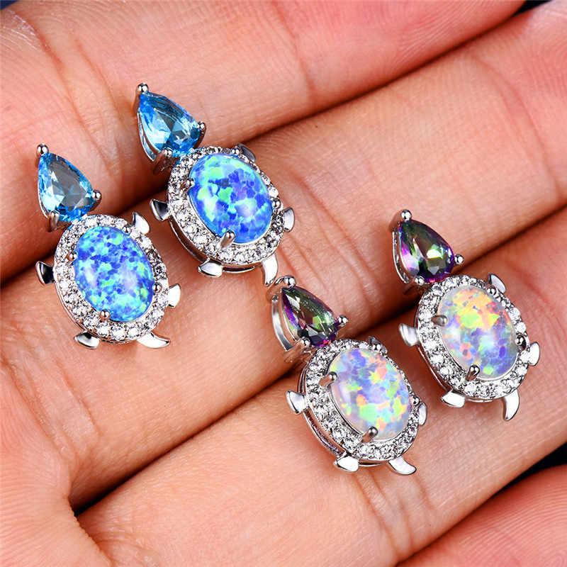 Милые серьги-гвоздики в виде черепахи для женщин, 925 пробы, заполненные серебром, груша, каплевидные, циркониевые овальные, голубые, белые, огненные опаловые серьги, свадебные