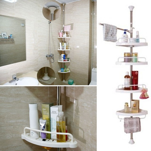 4 Tier Adjustable Telescopic Bathroom Corner Shower Shelf Rack Caddy ...