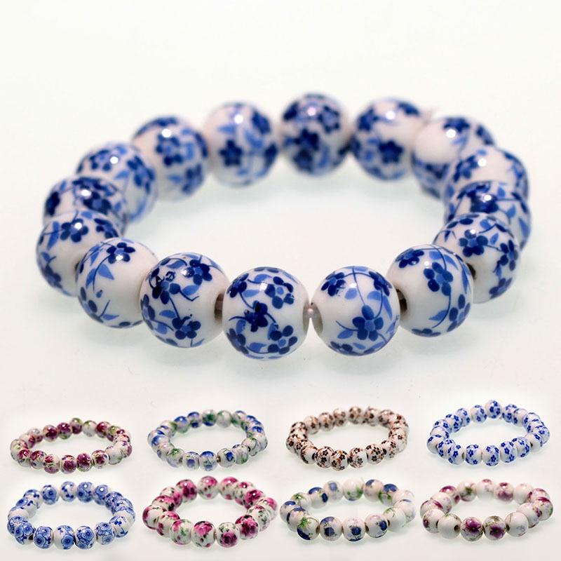 Estilo nacional criativo flor projetos frisado pulseira pure mão-feita porcelana cerâmica boho pulseira jóias presentes atacado