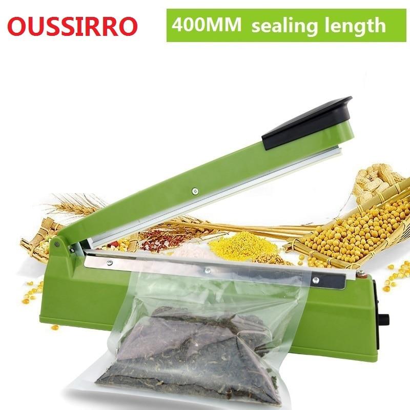 220V 400mm IMPULSE SEALER Heat Teflon forseglingsmaskine Impulspose Sealer Seal Sækholder Poly Tubing Plastic Bag Kit køkken