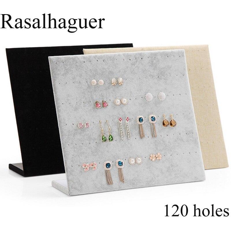 Top Sale 120 Holes Ear Ring Jewelry Display Stand Jewelry Trumpet Display Shelf Board Pin Earrings Holder Jewelry Store Shelf