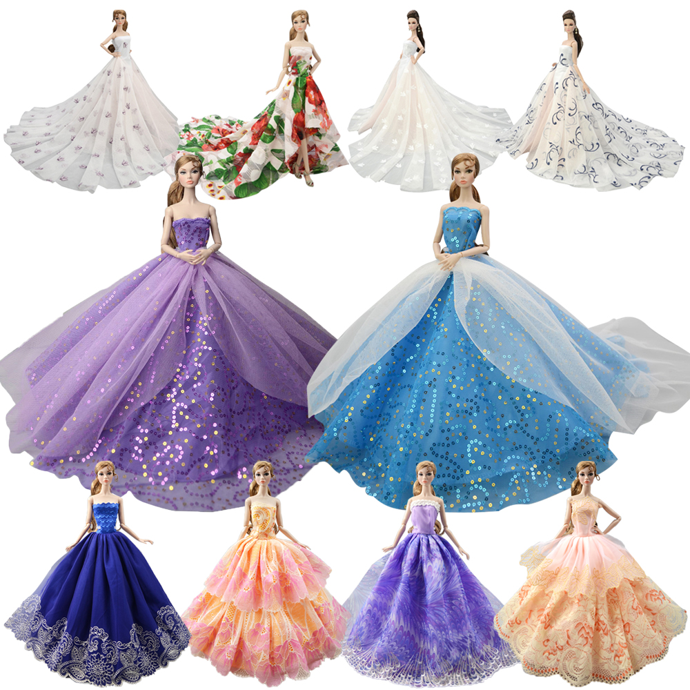 NK 2019 Princess Doll Clothes Handmake Wedding Dress Fashion Evening Party Outfit For Barbie Doll Accessories FR Doll 050A JJ