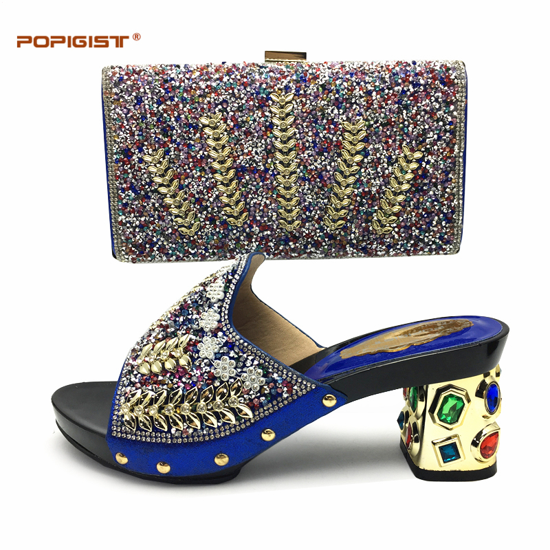 Blue Shining Italian Matching Shoes And Bag Set African Style Ladies Shoes And Bag To Match