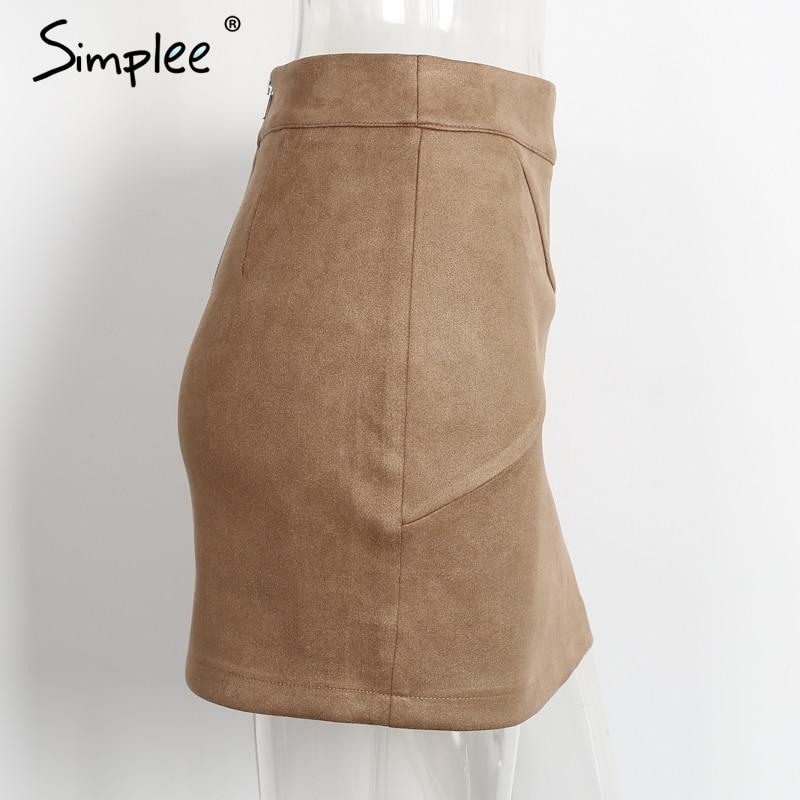 Simplee Autumn vintage leather suede pencil skirt winter 18 Cross high waist skirt Zipper split bodycon short skirts women 6