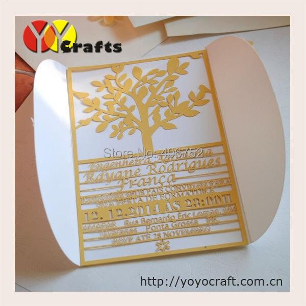 50pcs Custom Information Tree Invitations Laser Cut Wedding Invitation  Cards With Envelop