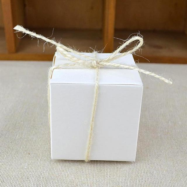Us 1 73 6 Off 10pcs Retro Kraft Paper Folding Small Square Chocolate Candy Gift Boxes For Wedding Party With Complimentary Hemp Rope 5 5 5cm In Gift