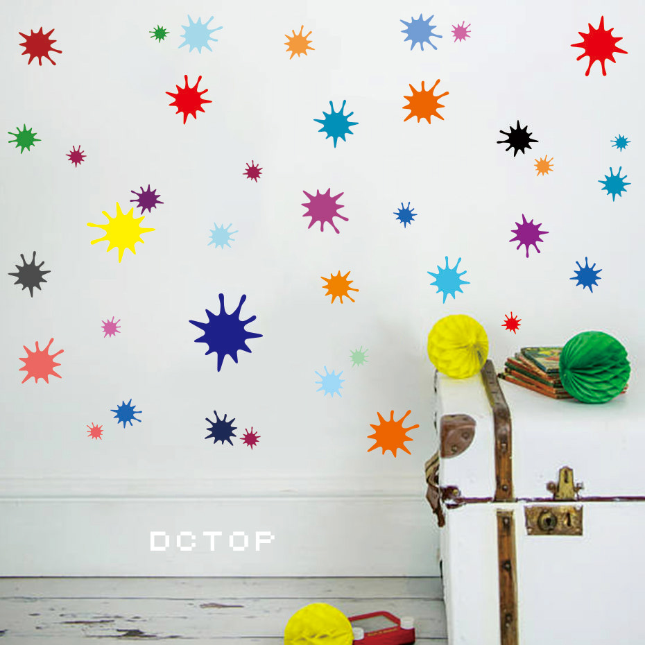 Cartoon Colorful Room: Abstract Ink Dots Colorful Wallpaper Cartoon Nursery