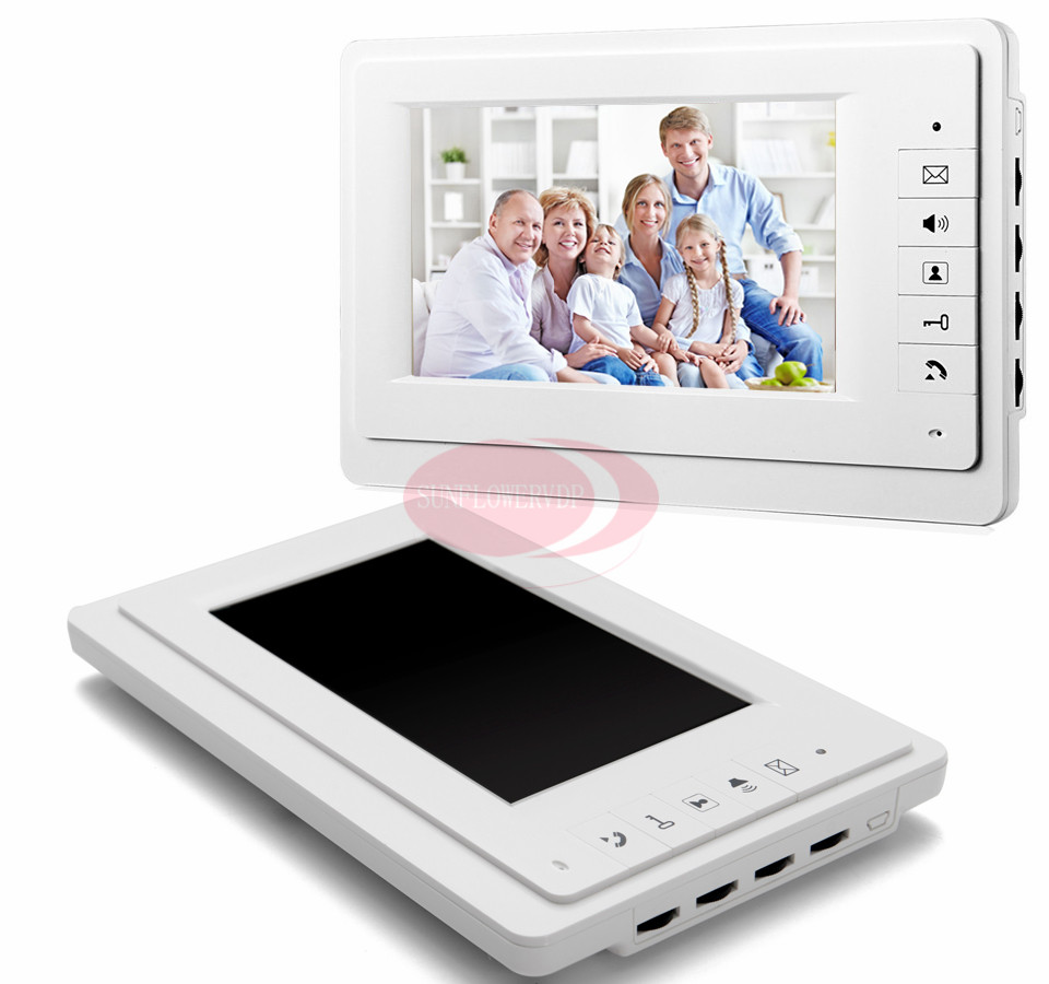 Free Shipping 7Iich Color LCD Wired Video Door Phone Intercom Hands-free Indoor Monitor White 100V To 240V Power Supply недорго, оригинальная цена