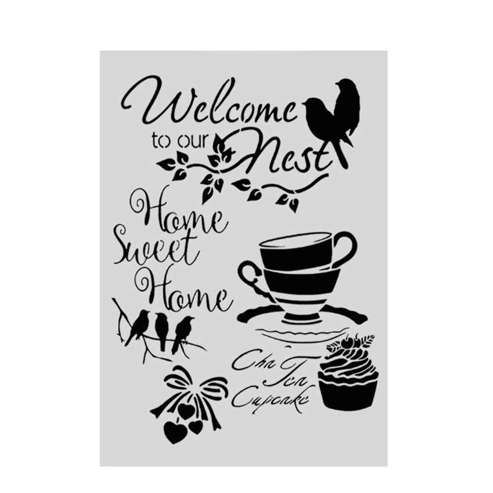 Welcome Layering Stencils For Walls Painting Scrapbooking Stamp Album Decor Embossing Paper Card Template decoration