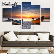 FULLCANG 5 panel diy diamond painting sunset seascape & boat full square/round drill 5d mosaic embroidery mazayka picture FC891