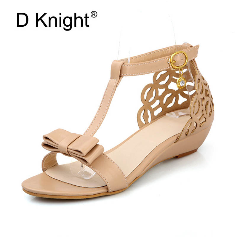 Women's Sandals For Summer Ankle T-Strap Buckle Med High Heels Bow Ladies Wedges Beach Shoes Woman Office Pumps Plus Size 33-43 plus size 34 43 new 2017 summer women sandals fashion thick high heels party shoes t strap rome style ladies beach shoes