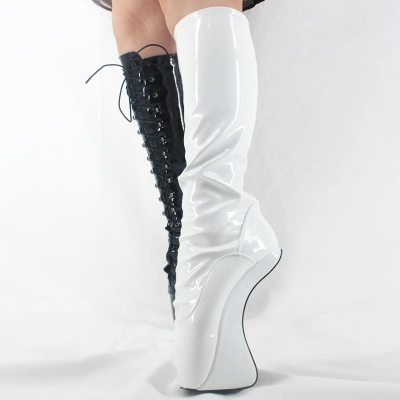 wei ballett heels high heel stiefel kniehohe runde kappe. Black Bedroom Furniture Sets. Home Design Ideas