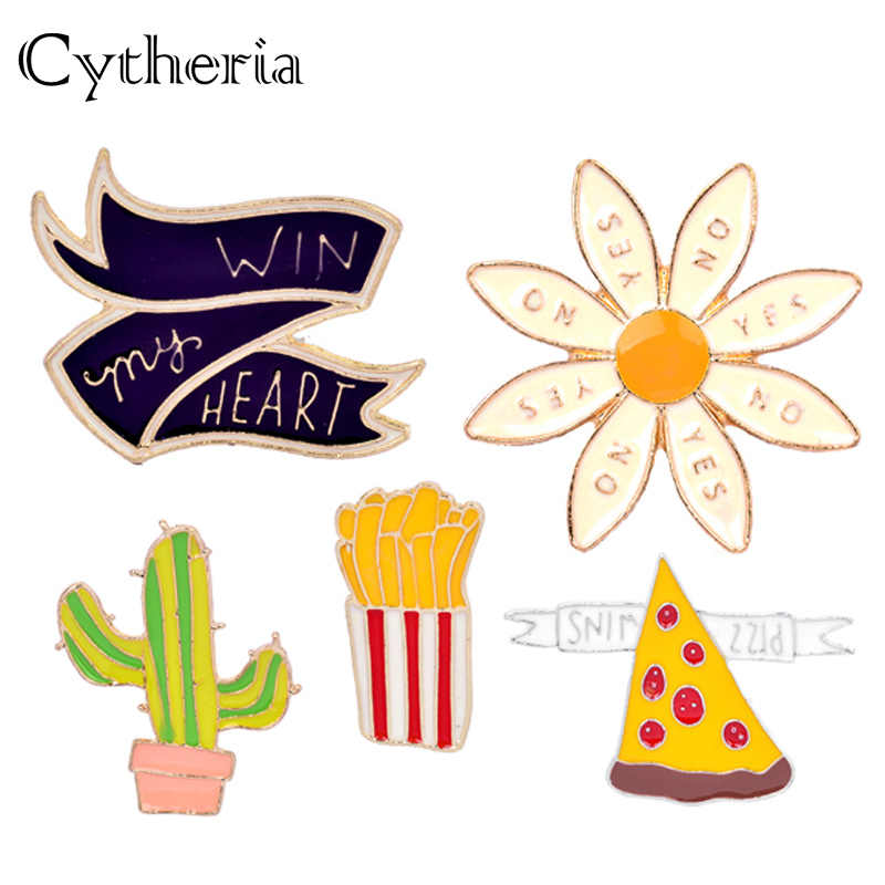 Ja geen bloem pins frieten pizza broches kleurrijke enamel cartoon pin Cactus potplanten revers pin badge Lint zijde knop