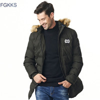 FGKKS New Brand Clothing Winter Men Jacket Fashion Mens Winter Parka With Hood Casual Warm Men