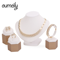 Wedding Dress Accessories 18k Gold Plated Jewelry Sets For Women Fine Crystal Necklace Set African Beads