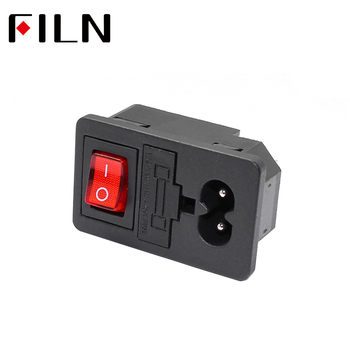 New Integral 250V 10A Red Rocker Switch Fused IEC320 C14 Inlet Power Socket Fuse Switch Connector 2pin Plug Male Connector black iec320 c14 inlet module plug switch male power socket w 2 pin switch