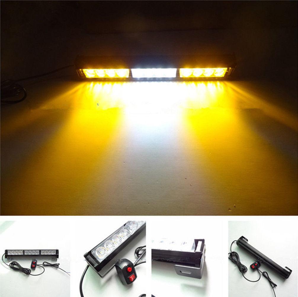 14 Inch 12LED 12V Car Emergency Beacon Light Bar Hazard Waterproof Strobe Flash Warning Lights Yellow White Yellow