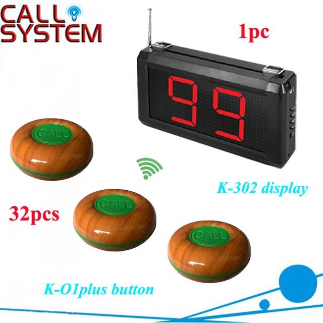 Беспроводной ресторан белл зуммер система вызова К-302 дисплей приемника с K-O1plus 32 шт.
