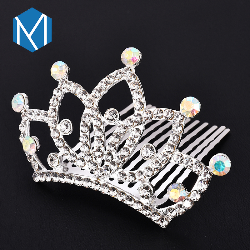 M MISM Hot Sales Woman Wedding Hairpins Elegant Bride Crown Hair Clips  White Rhinestone Hair Accessories 77c73d113eef
