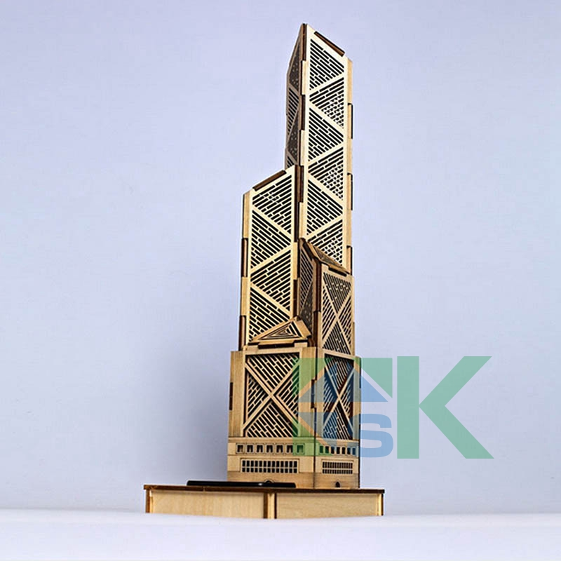 3d puzzle paper model diy toy bank of china tower for Architectural decoration crossword clue