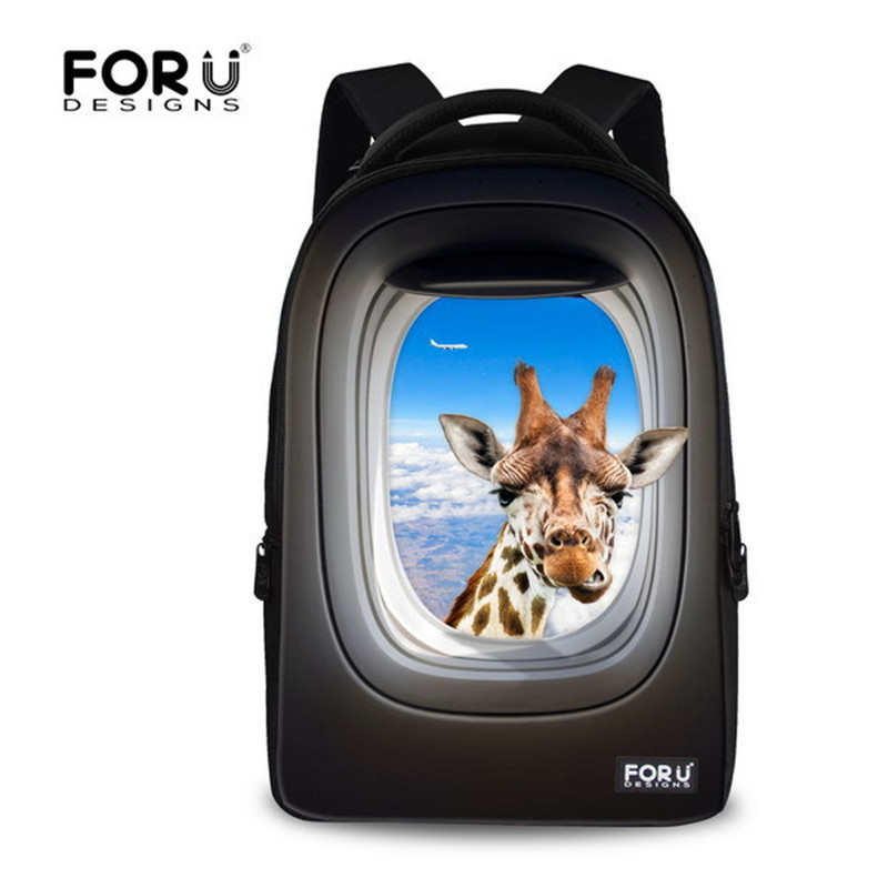 ФОТО FORUDESIGNS hot sale cute animal print backpack giraffe tiger owls school backpack for student women travel bag laptop mochila