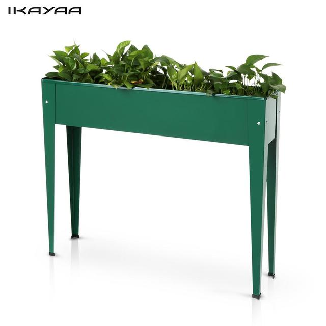IKayaa Metal Patio Elevated Garden Planter Box Flower Pot Garden Bed  Vegetable Herb Vertical Planter Kits
