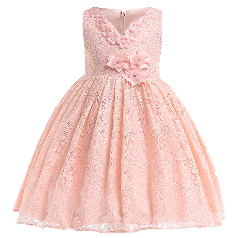 Flourished Dress Children Clothing Flower Girl Dresses For Wedding Clothes First Communion Princess Dress Baby Costume L5037